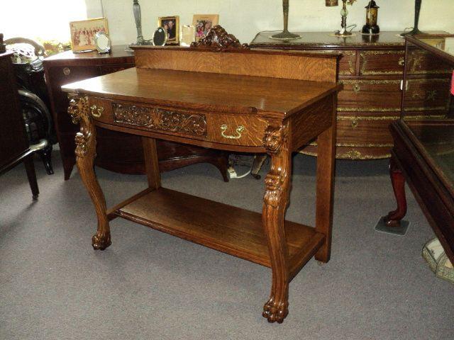 Antique Oak Server W Claw Feet Lions Heads Circa 1900 Antique Oak Furniture Oak Furniture Furniture