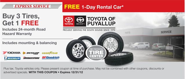 Buy Four Tires Get One Free Car Rental Party Rentals Toyota