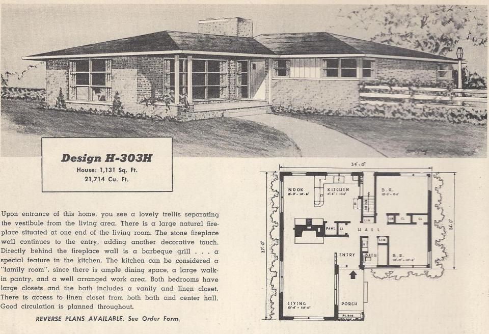 Vintage house plans 1950s houses mid century houses for 1950s floor plans