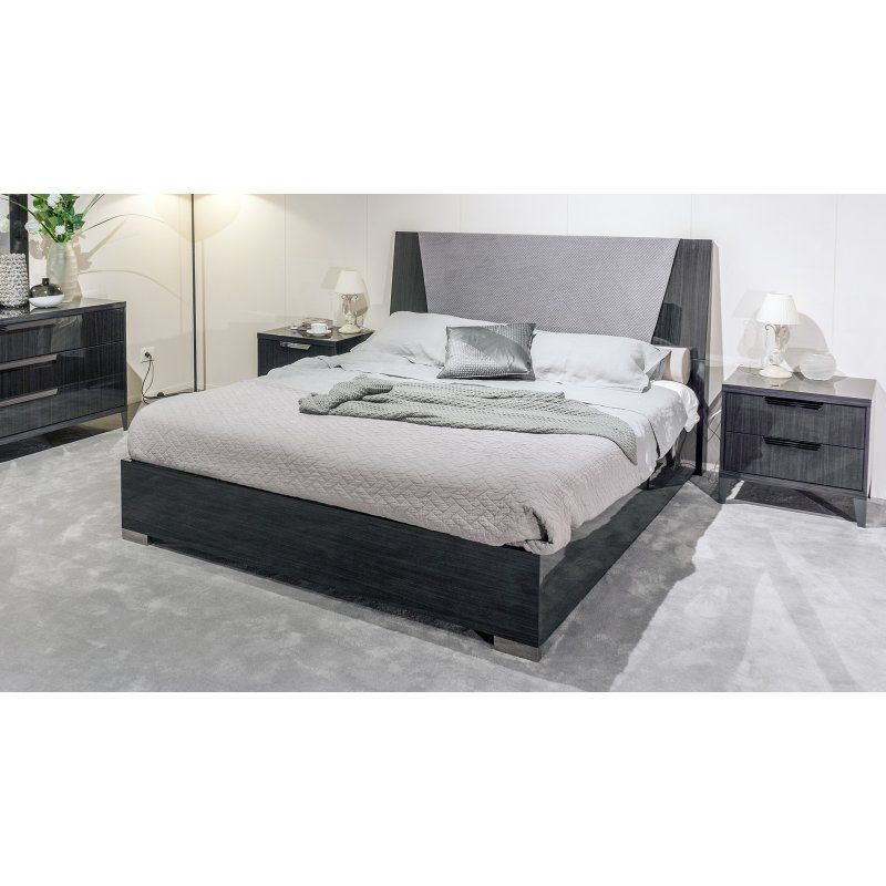American Eagle Furniture Eastwood Gray Lacquer Panel Bed