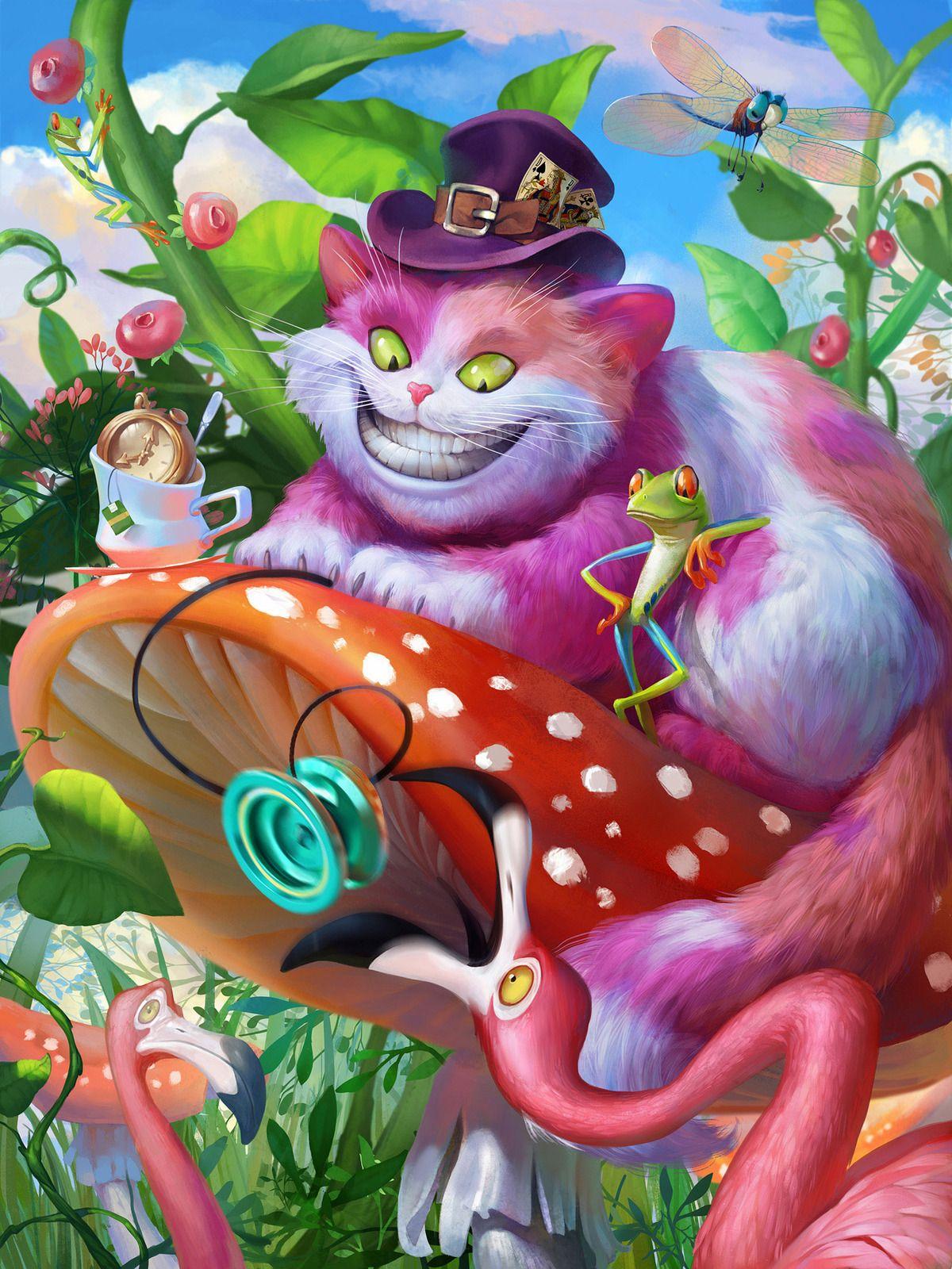Цветы картинках, открытка чеширский кот