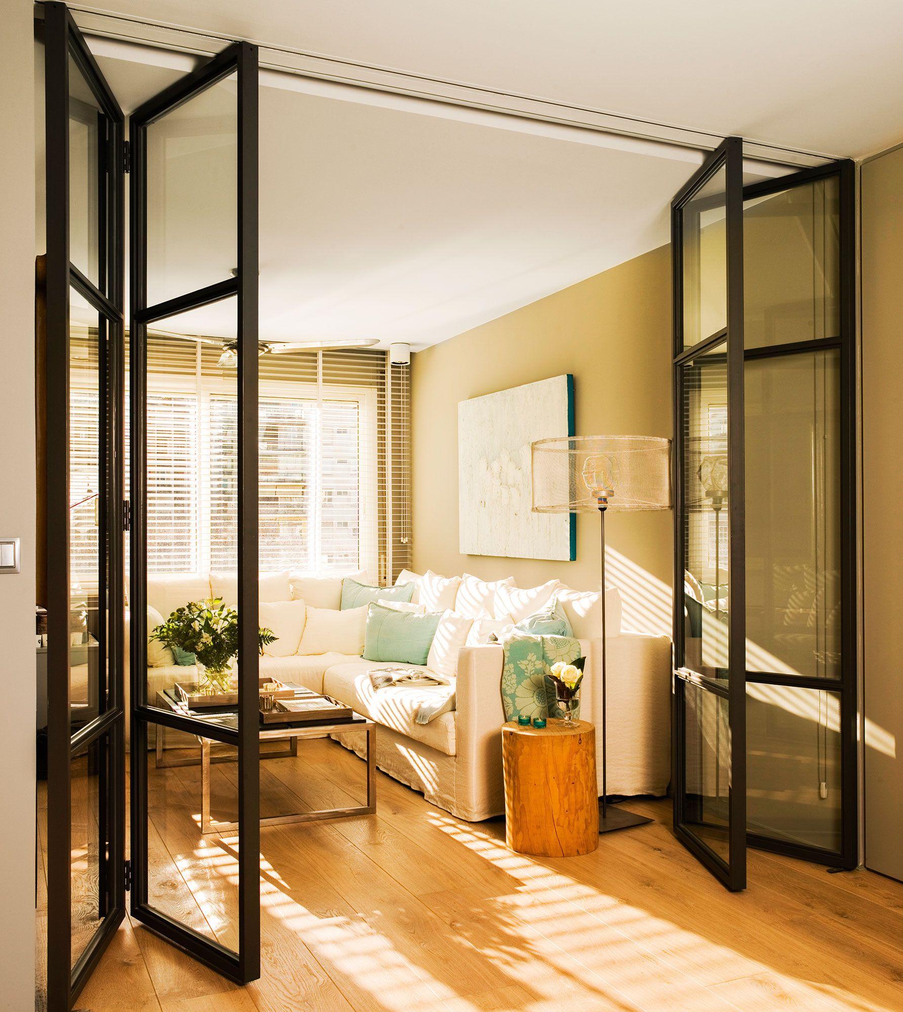 Sal n con puertas correderas plegables acristaladas 03 - Puertas correderas interior rusticas ...