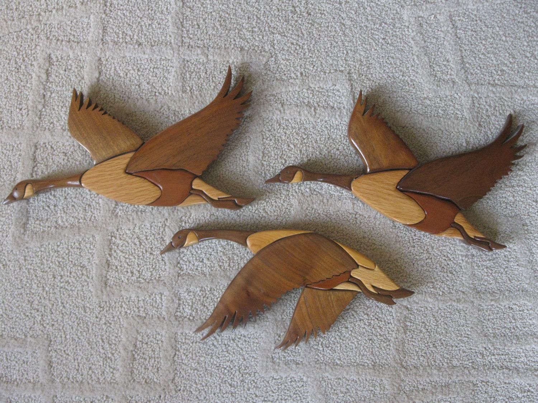 Wood Carved Geese - Wall Hanging- Set of 3 - Canada Geese- vintage ...