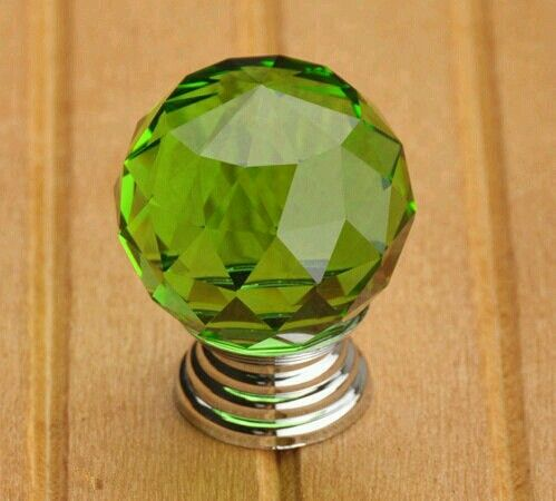 Green glass knob