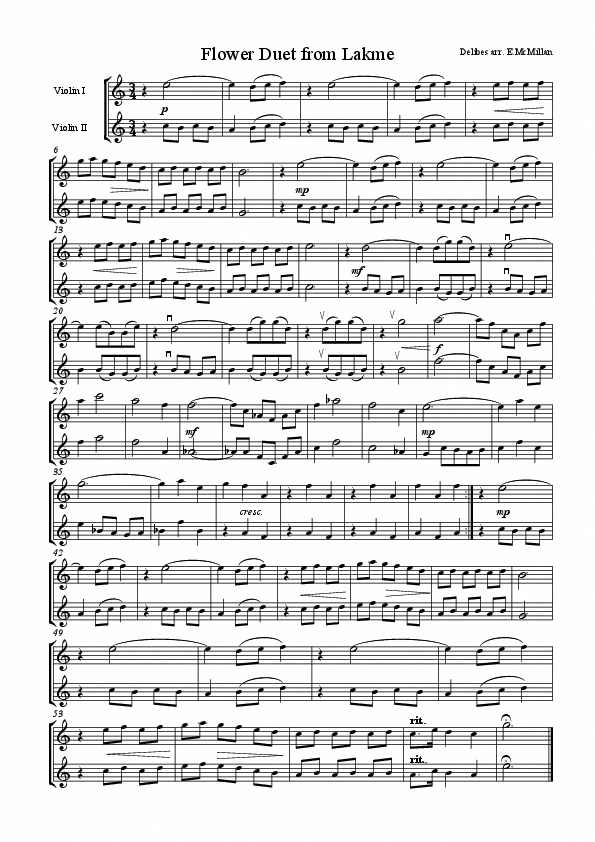 Flower Duet From Lakme For Two Violins Violinlessons Learnviolin Violin Sheet Music Sheet Music Flute Sheet Music