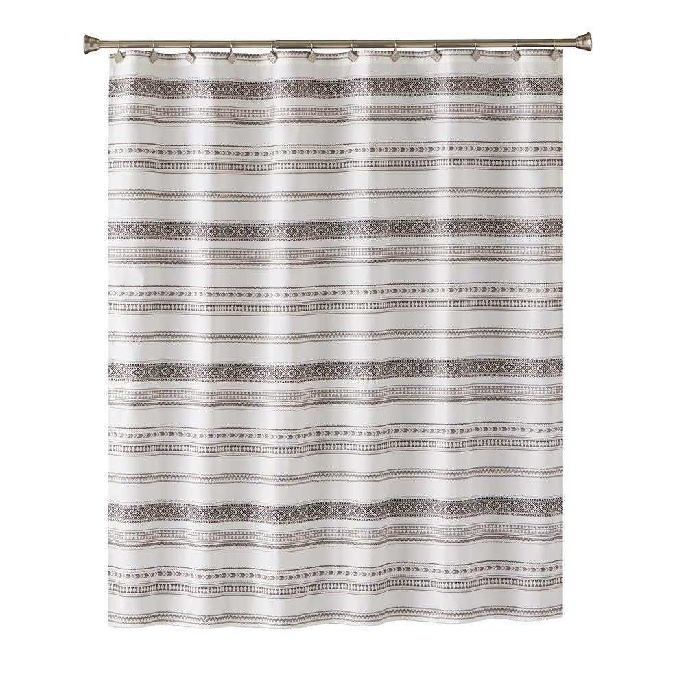 Skl Home Geo Stripe 72 In Shower Curtain In Black U1237000200001