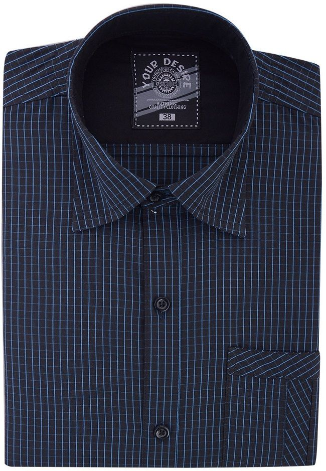 Your Desire Shirts Black and Blue Checks Cotton Formal Shirt d036de3cd