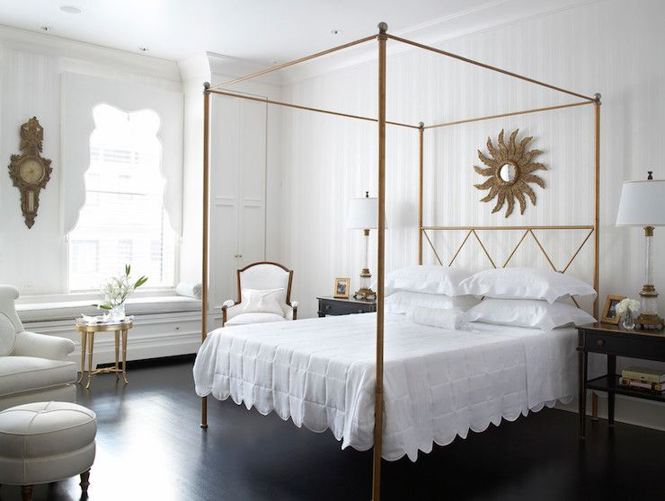 espresso wood floor with white walls Gold canopy bed gold sunburst mirror white scalloped bedding chair . & Eva Quateman Interiors - bedrooms - antiqued gold canopy bed ...