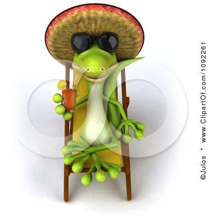 Clipart 3d Sun Bathing Gecko Drinking Tea Royalty Free Cgi