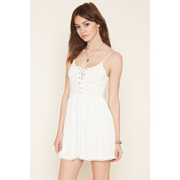 Forever 21 Women S Crochet Lace Up Mini Dress White Crochet Dress Crochet Dress Mini Dress