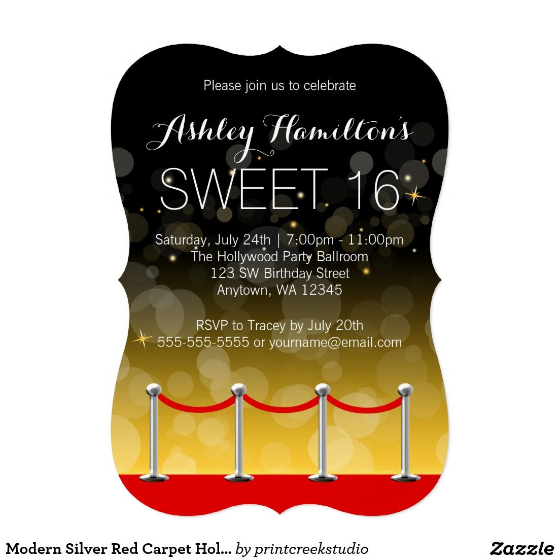Modern Silver Red Carpet Hollywood Sweet 16 Card | Sweet 16, Red ...