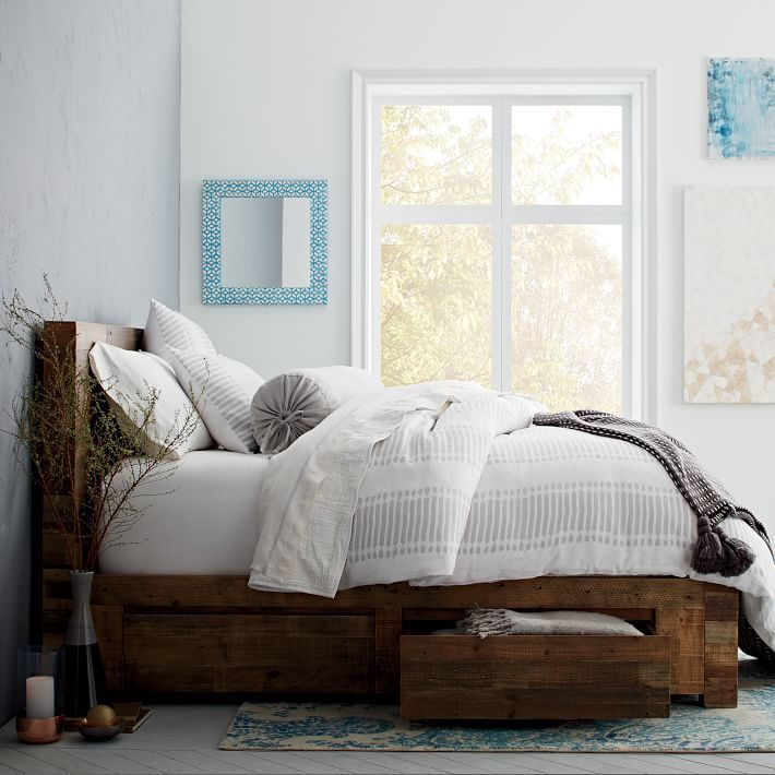 Bedroom With A Reclaimed Wood Storage Bed By West Elm Storage