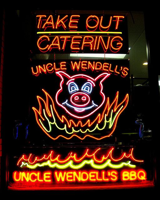 Uncle Wendell's BBQ - Neon Sign by Don3rdSE, via Flickr  ..Des Moines, Iowa
