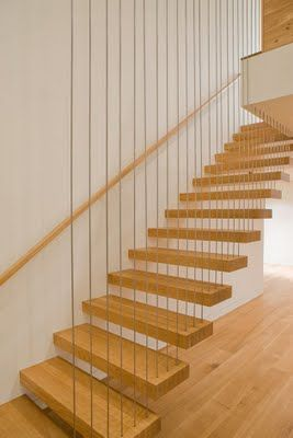 Cool Stair With Balustrade Made From Steel Rods That Also Support The Treads.  Contemporist