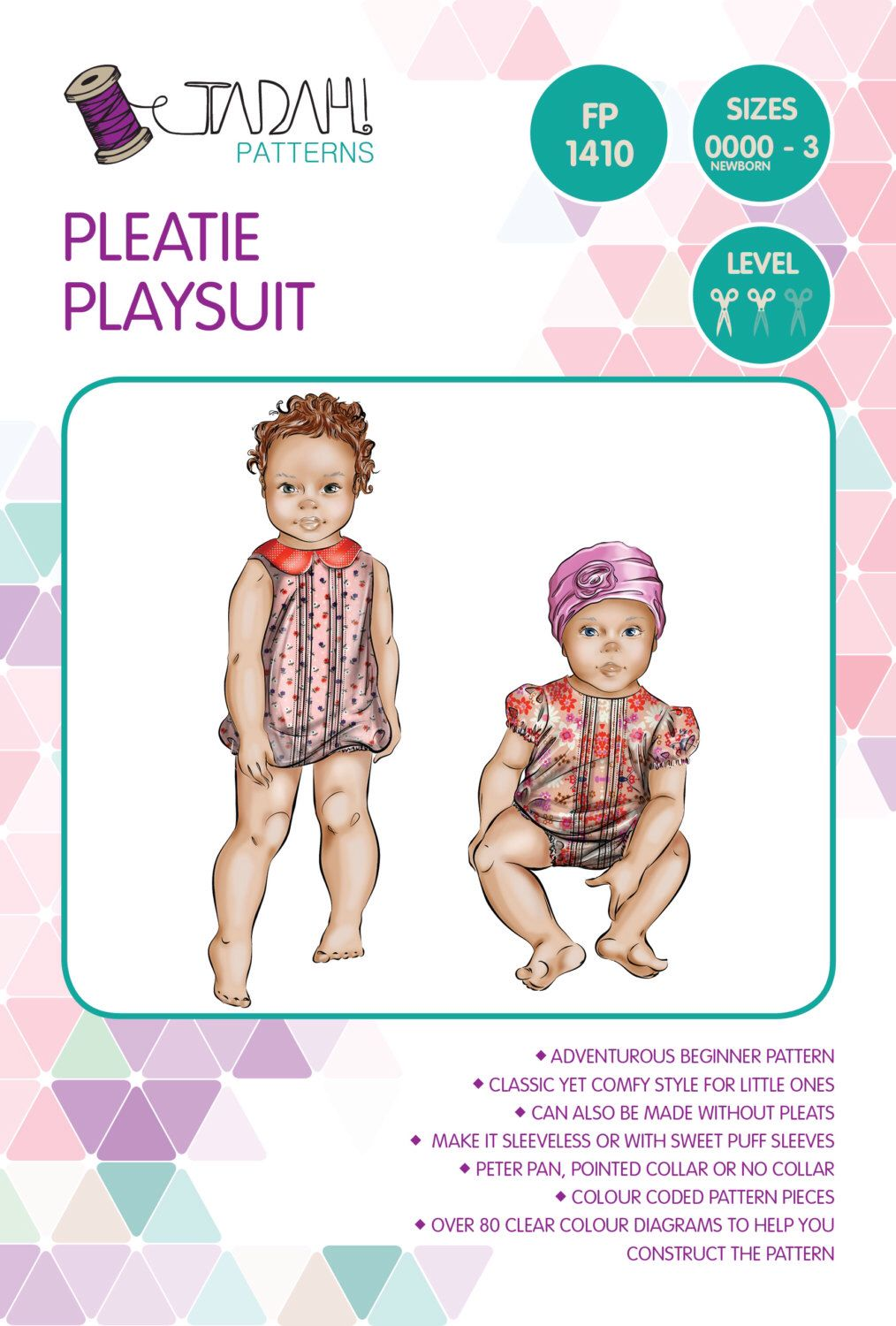 PATTERN Pleatie Playsuit - PDF Sewing Pattern - Instant Download ...