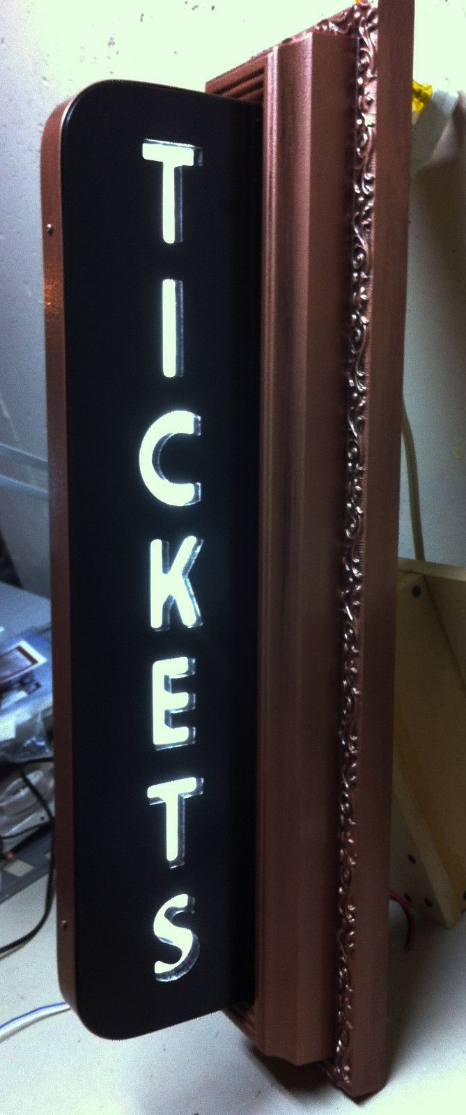 Custom vintage style art deco movie theater ticket lighted sign home