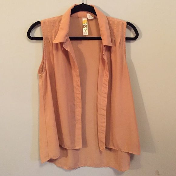 Collard Button Up Shirt Nude Color Sheer Button Up Too Short In The