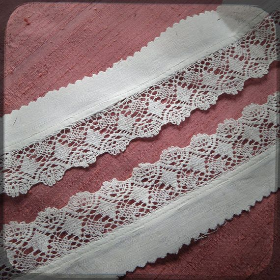Antique French white-work Trim Lace insert - Vintage Supplies for Re-Purpose Costume Projects