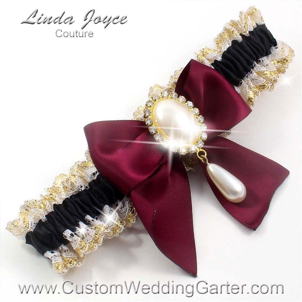 Plus Size Wedding Garters: Black And Burgundy WEDDING GARTER Pearl Bridal Garter 123