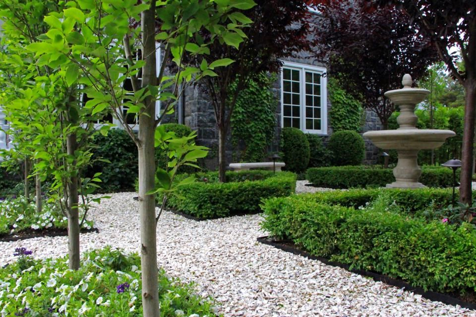 Crushed Oyster Shell Path With Carpinus And Boxwood Gravel