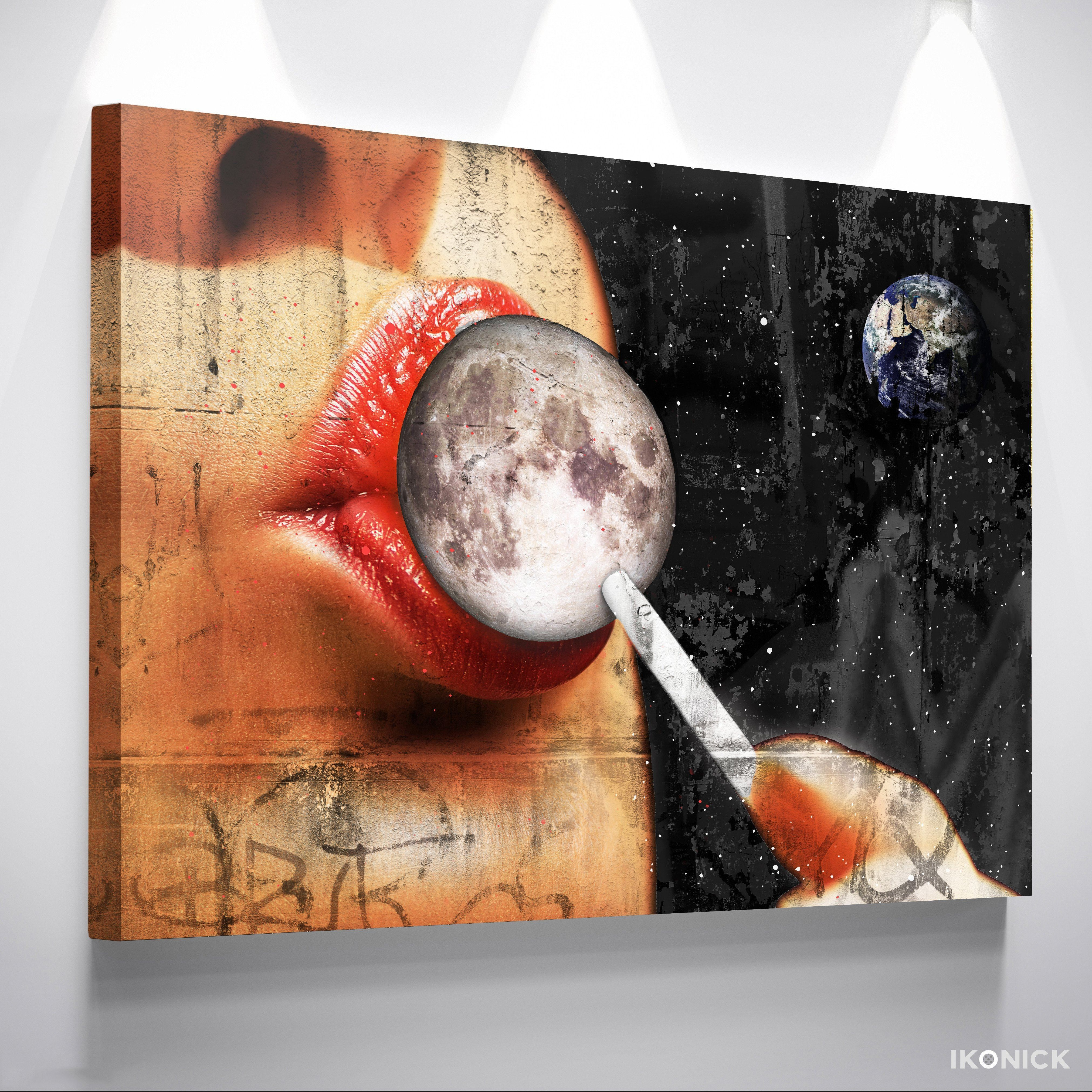 Taste The Moon Modern Pop Culture Canvas Wall Art Banksy Street Art Ikonick Outer Space Art Space Art Cool Paintings