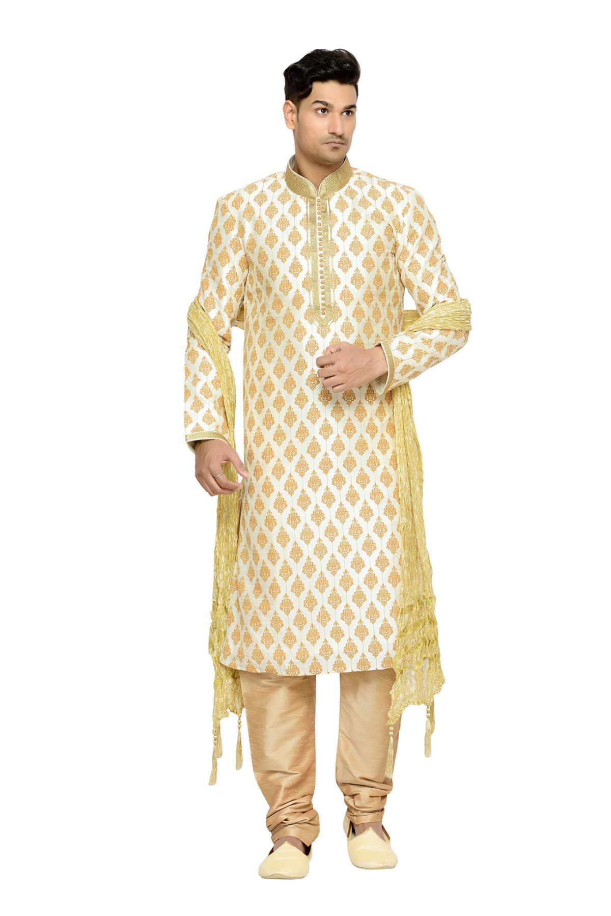 503adfadce Dhupion Wedding Wear Kurta Pajama In Cream Colour This Kurta Pajama Is  crafted with Embroidery This Kurta Pajama Comes As a stitched Which Can Be  Stitched ...