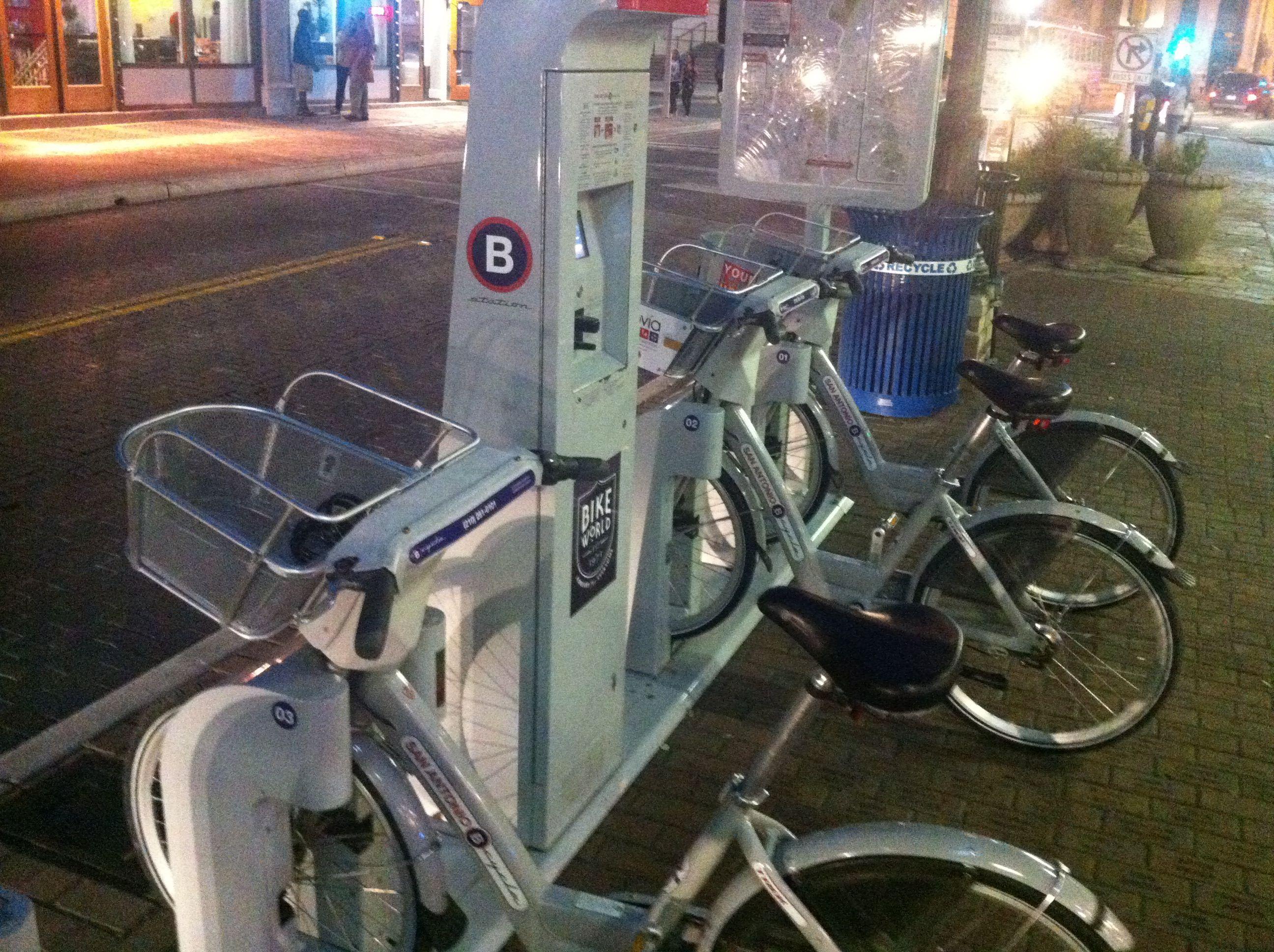Bicycle rental vending machine downtown san antonio tx