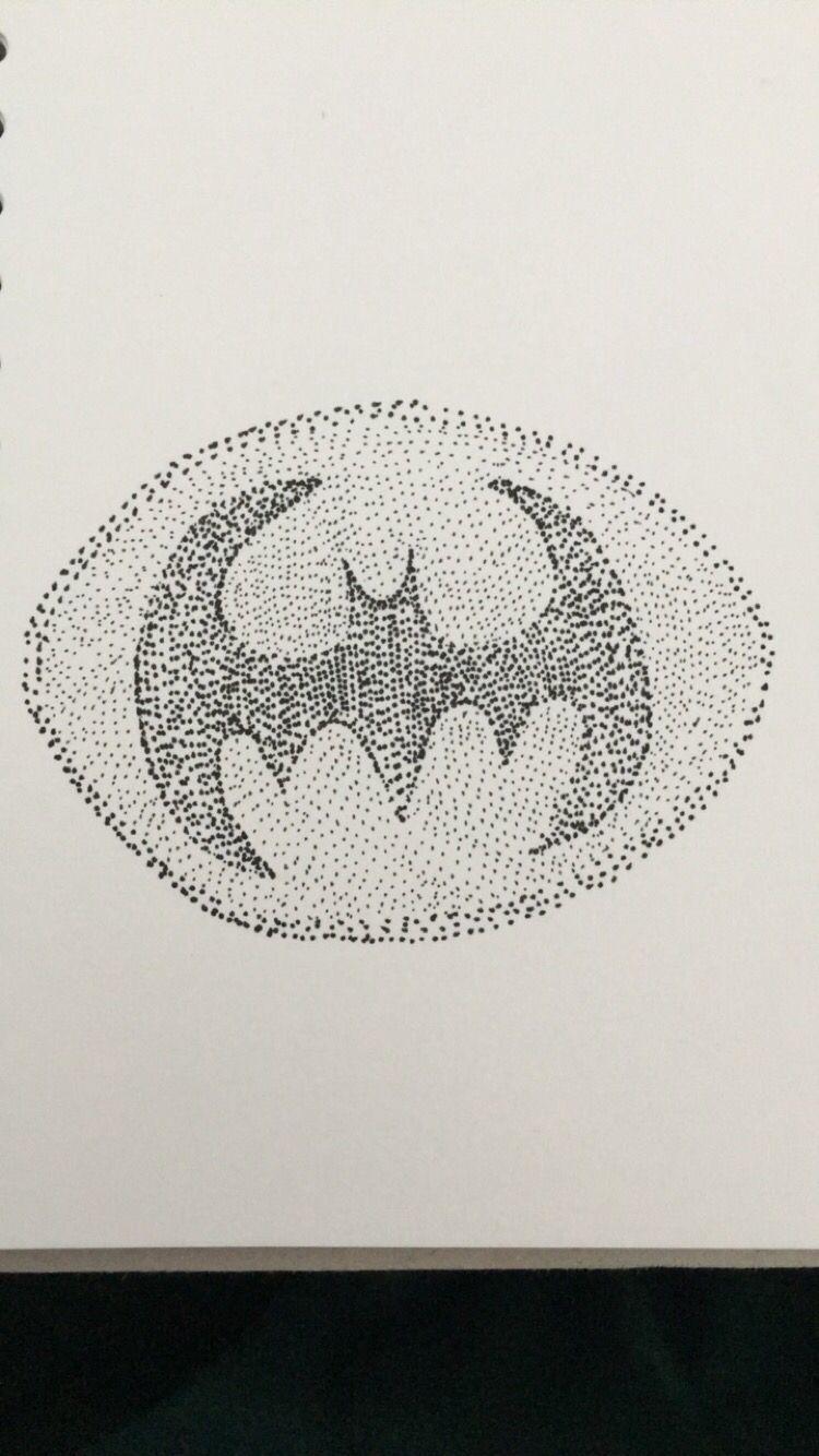 Pointillism piece of the batman symbol.