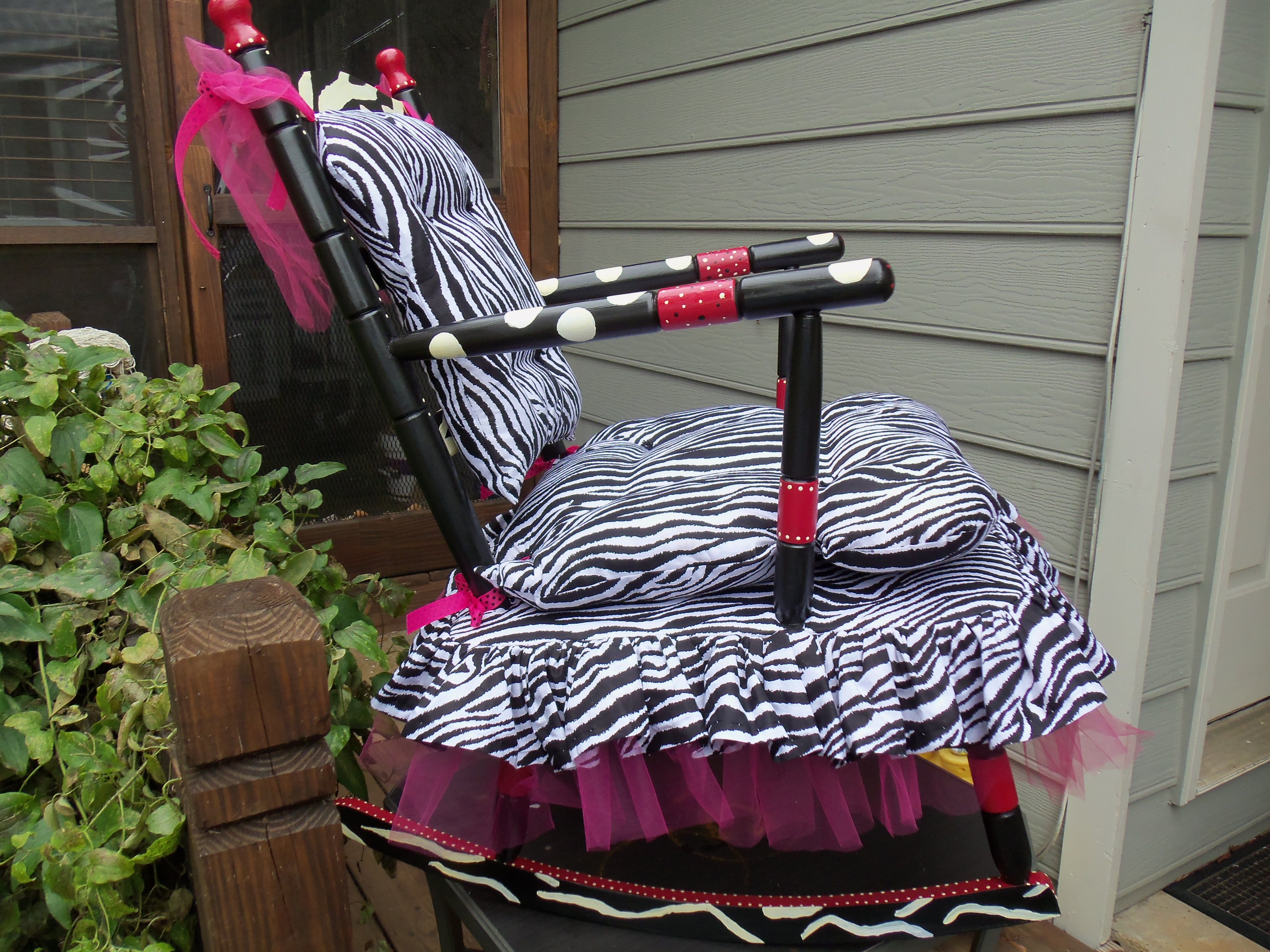 Zebra Print Funky Rocking Chair Repurposed Chair For