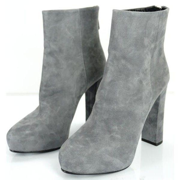 1b790b558d1 New Prada Suede Platform Ankle Boots Block Heel Back Zip Gray Sz 38 ...