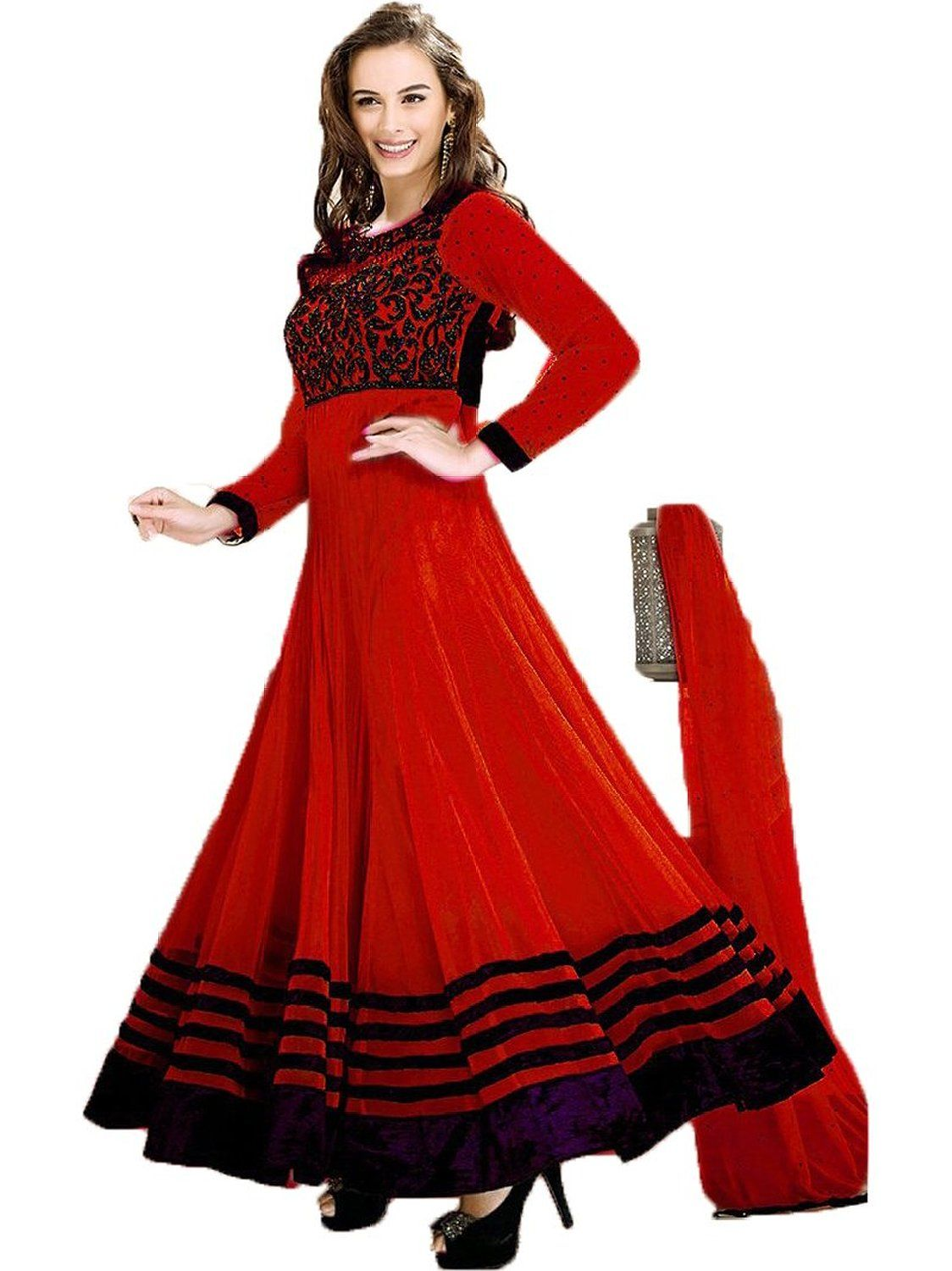 89ef15ec60 Evelyn Sharma Net Thread Work Red Semi Stitched Long Anarkali Suit - 3001  Patiala Dress