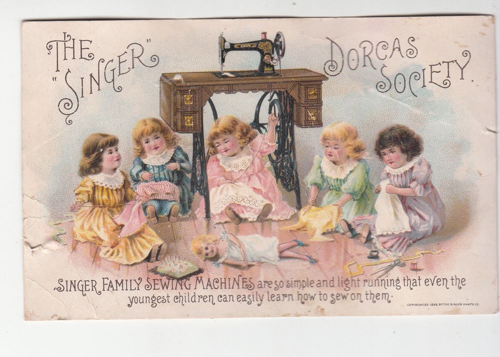 Singer Sewing Machine Dorcas Society Victorian Trade Card c 1880s
