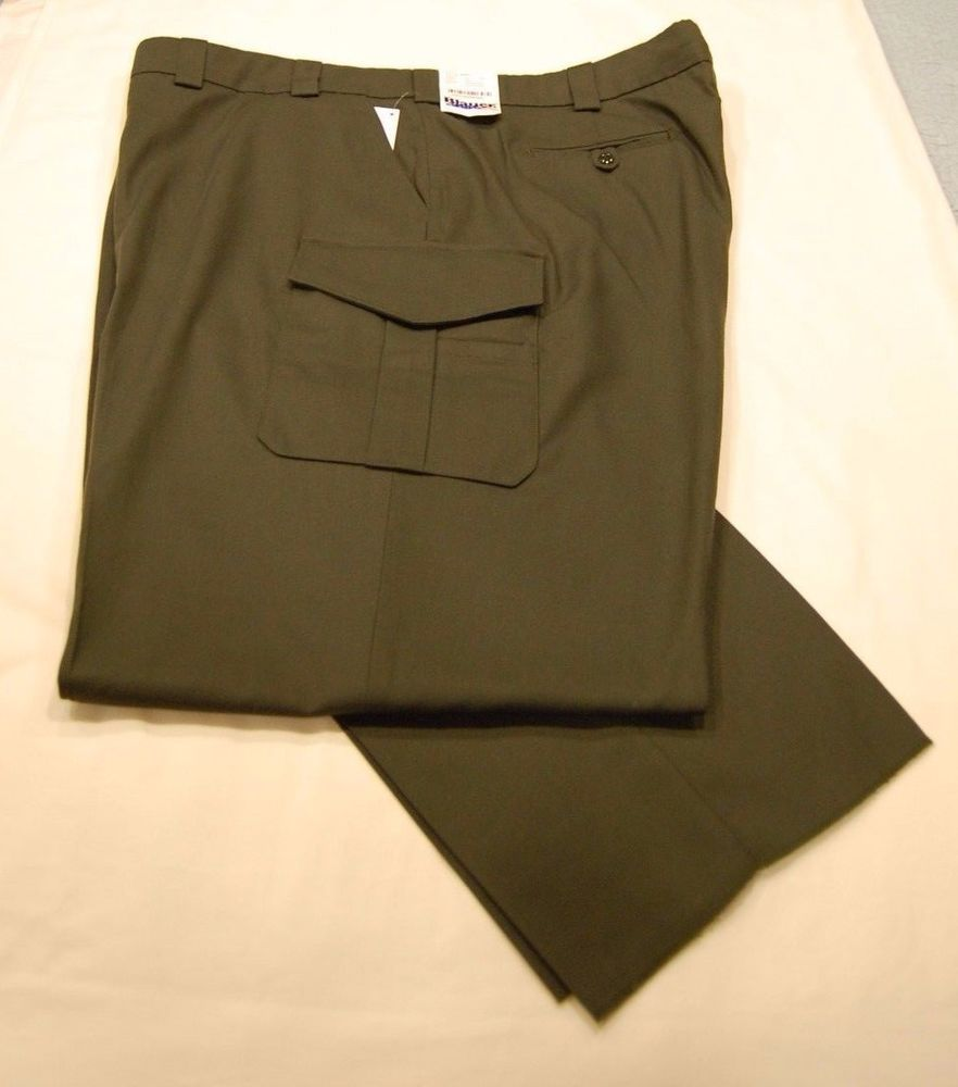a91a170f31 Mens Tactical Pants 50 Unhemmed Side Pocket Rayon Blend OD Green Uniform  Police #Blauer #8980