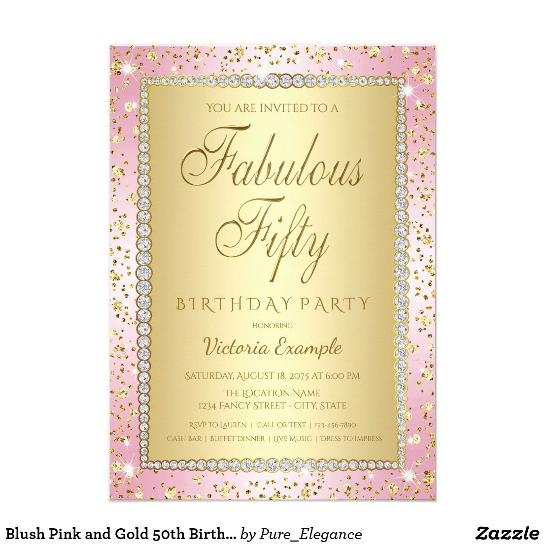 Blush pink and gold 50th birthday party invitation blush pink and gold 50th birthday party invitation blush pink and gold 50th birthday party invitations with elegant gold fabulous fifty script on a stopboris Gallery
