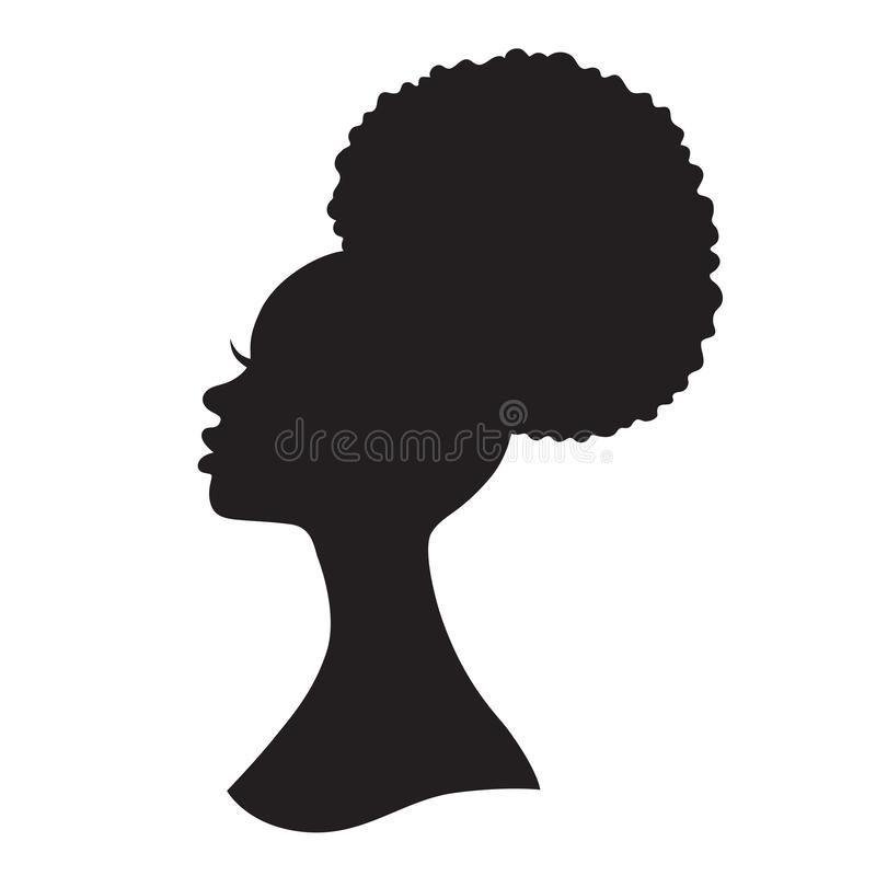 Black woman afro puff drawstring ponytail stock