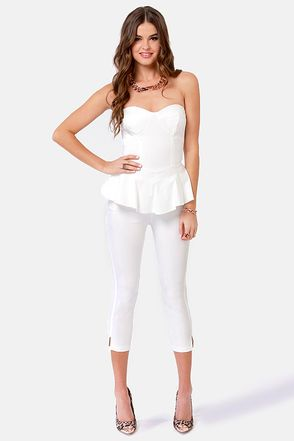 Images of Strapless White Jumpsuit - Reikian