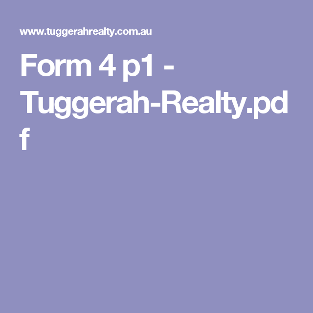 Form 4 p1 TuggerahRealty.pdf House for lease, Rental