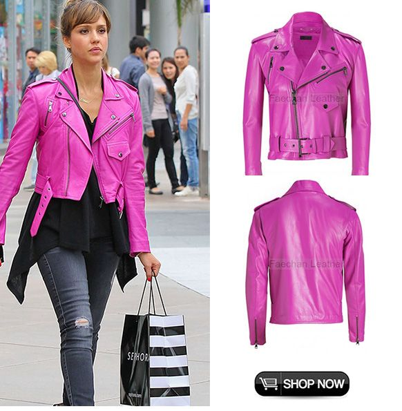 jessica-alba-pink-leather-jacket---faechan.JPG (582×595) | My ...