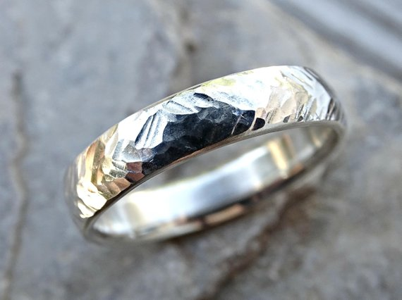 leaf print mens ring Silver mens band ring leaf mens thin band ring nature lover gift for him