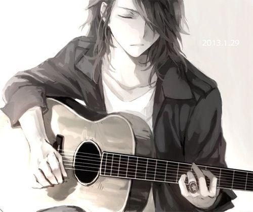 Anime boy with guitar