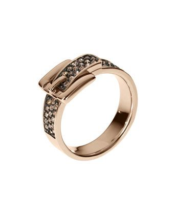 Michael Kors Pave Buckle Ring, Rose Golden.
