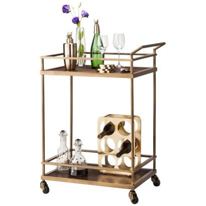 Threshold Wood And Brass Finish Bar Cart 129 99 With Images Brass Bar Cart Bar Cart Decor Bar Cart