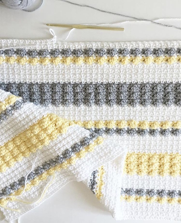 Crochet Bobble and Mesh Stitch Blanket - Daisy Farm Crafts Free ...