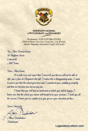 Wizard School Rejection Letter personalized | Alyssa