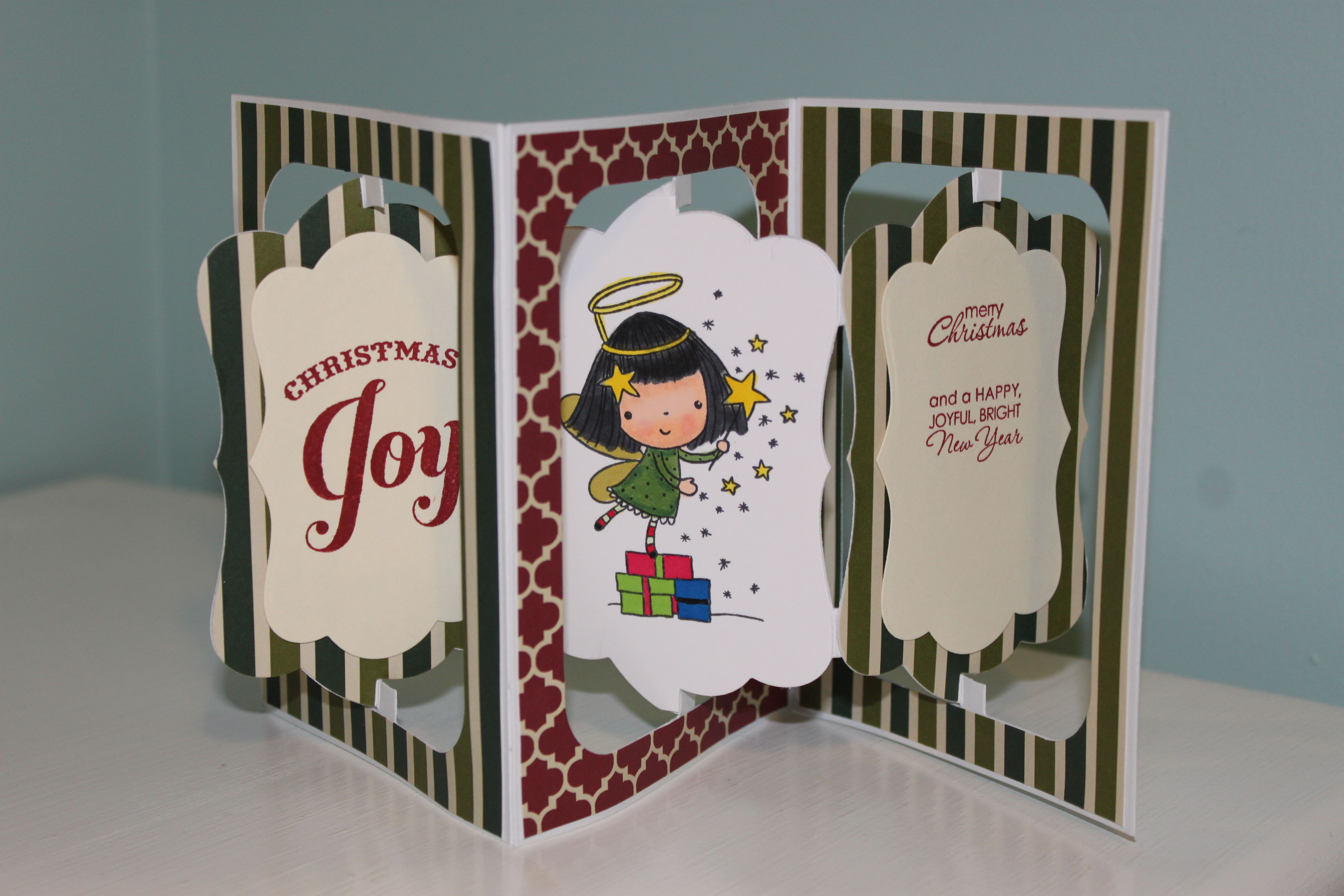 Accordion Fold Card Penny Black Christmas With Mimi Stamp Stampin