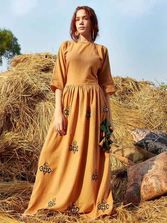 Mustard Yellow Embroidered Cotton Maxi Dress Maxi dress
