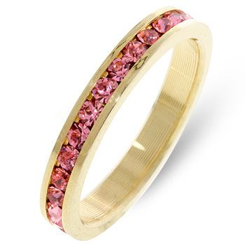 Bella Shaye Jewelry S 14k Gold Bonded Stacker Ring With Round Cut Pink Cz In A Channel Setting October Bling Pinterest Eternity Bands