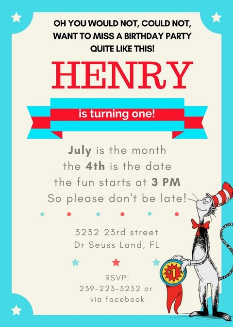 Cat in the Hat birthday party invitation free template Cat in - free template for party invitation