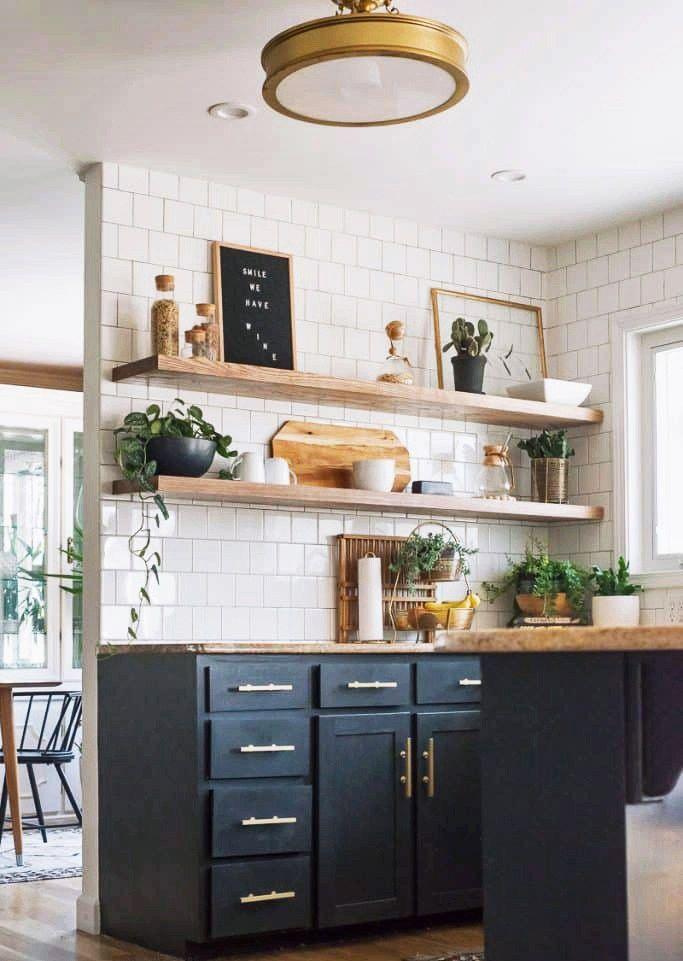 my mid century bohemian kitchen inspiration floating on floating shelves kitchen id=64649