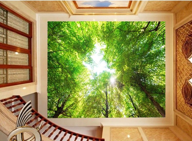 Custom Size Large Mural Ceiling Wallpaper 3d Stereoscopic Scenery Green Forest Wall Paper For Home